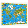 "The Amazing World Children's Wall Map with fitted poster hangers (40"" x 28"")"
