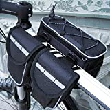 Disconano® Bike Bicycle 3 in 1 Multi-function Front Frame Tube Pannier Bag with Rainproof Cover