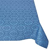 Mahogany Rectangle Jacquard Tablecloth, 60 by 120-Inch, Medallion Navy Blue