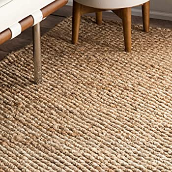 nuLOOM Natura Collection Hailey Jute Natural Fibers Solid and Striped Hand Made Area Rug, 5-Feet by 8-Feet, Natural