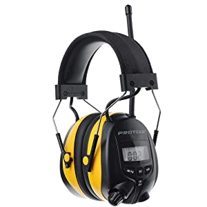 PROTEAR Digital AM FM Radio Headphones, Ear Protection Safety Earmuffs, Electronic Noise Reduction Ear Defender, Perfect for Mowing Working, with a Carring Case (Color: Yellow, AM/FM, 2 AA Batteries)