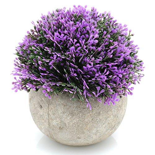 Velener Mini Plastic Artificial Pine Ball Topiary Plant with Pots for Home Decor (Purple)