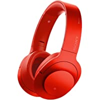 Sony h.ear on MDR100ABN Wireless Noise Cancelling Bluetooth Headphones with Microphone (Cinnabar Red)