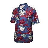 Monterey Club Men's Dry Swing Palm Tree Print Polo Shirt #1532 (Midnight Blue/Deep Claret, Large) (Color: Midnight Blue/Deep Claret, Tamaño: Large)