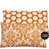 Chloe & Olive Orange Creamsicle Collection Floral and Polka Dot Lumbar Pillow Cover, 16 by 26-Inch, Cream