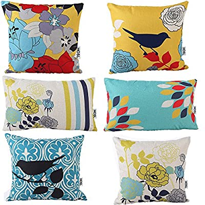 """HOSL® Cotton and Linen Decorative Pillow Cover Case Pack of 6 (4 Square About 18"""" X 18""""; 2 Rectangle About 11.5"""" x 19.5"""")?Bird And Flower)"""
