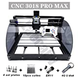 Upgrade CNC 3018 Pro MAX GRBL - 3 Axis PCB PVC Milling Router Engraving Machine with Protected Board - DIY Wooden Router Engraver Cutter Mini PCB Recorder Offline Support (Color: white, Tamaño: 500MW)