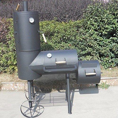 Smoker Doppel Barbecue Grill mit Räucherofen Holzkohlegrill günstig online kaufen