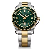 Victorinox 241605 Swiss Army Men's Stainless Steel Watch, Two-Tone Stainless Steel Band, 43mm (Color: Silver/Gold tone/Green)