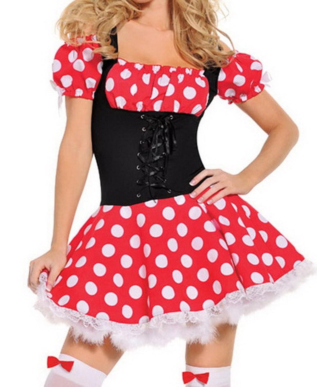 Bigood Punkt Stil Spitze Cosplay Kostüm Mickey Rollenspiel Kostüm Mit Haltegurt Rot-schwarz günstig