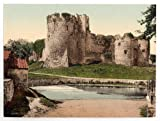 13cm x 18cm (1890 - 1900) Vintage Photochrom Postcard Reprint of The Castle II, Chepstow, Monmouthshire, South Wales