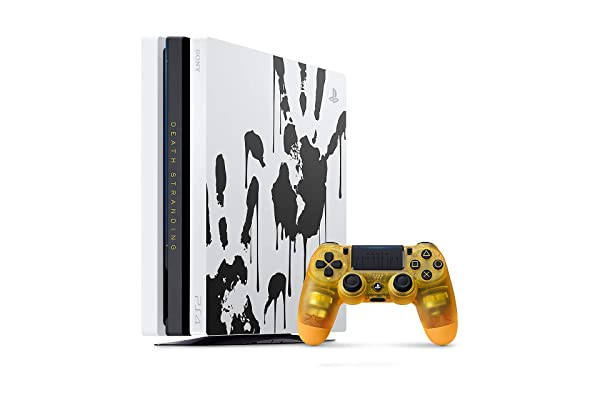 PlayStation 4 Pro Storage Upgrade 1TB SSD Limited Edition Death Stranding Console and BB Pod Yellow Controller Bundle - Game is Not Included (Renewed) (Color: White)