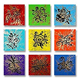 Neron Art - Handpainted Abstract Oil Painting on Gallery Wrapped Canvas Group of 9 pieces - Karlsruhe 36X36 inch (91X91 cm)
