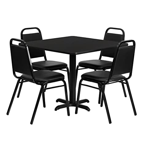 Flash Furniture Square Black Laminate Restaurant Dining Table Set with 4 Black Trapezoidal Back Stackable Banquet Chairs, 36""