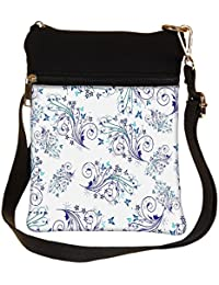 Snoogg Blue Pattern Design Cross Body Tote Bag / Shoulder Sling Carry Bag