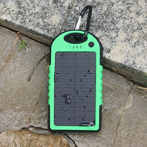 Solar Charger - Energy Oasis Solar Portable Phone Battery Charger 5000mah External Battery Portable Dual USB Charger Power Bank Shockproof, Dustproof & Rainproof Provides the Freedom to Travel Anywhere with the Solar Dual USB Port Portable Charger Backup Power Pack for Iphone 6 Plus 5s 5c 5 4s 4, Ipods(apple Adapters Not Included), Samsung Galaxy S5 S4, S3, S2, Note 4 3 2, Most Kinds of Android Smart Phones,windows Phone and More Other Devices (Green/black)