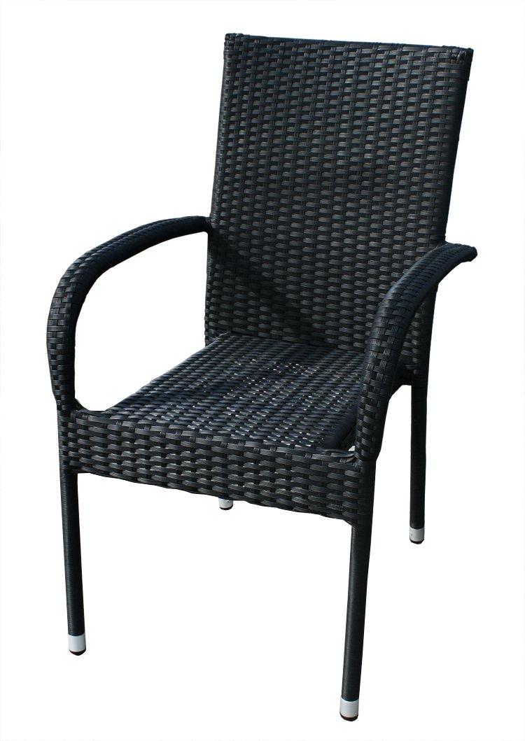 KMH®, Stapelstuhl Gartenstuhl aus Polyrattan (schwarz) (#106031) günstig