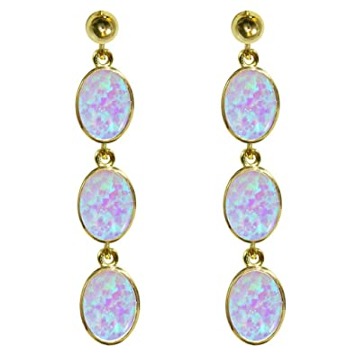 Stunning 9ct yellow Gold Ladies Triple Drop Oval Cut Dropper Earrings Set With Beautiful Opal