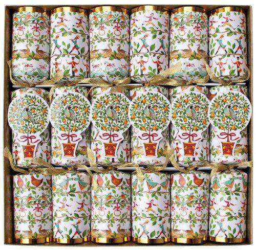 Caspari Celebration Crackers With Luxury Embellishments, 12-1/2-Inch, 12 Days