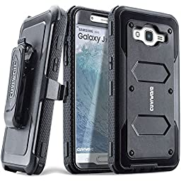 COVRWARE® Samsung Galaxy J7 (2015)/ J700 [Aegis Series] Built-in [Screen Protector] Heavy Duty Full-Body Rugged Holster Armor Case[Belt Clip][Kickstand](T-Mobile/MetroPCS/Boost Mobile/Virgin), Black