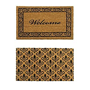 rubber cal coir double wide door mats set of 2 24 x 57 patio lawn garden. Black Bedroom Furniture Sets. Home Design Ideas