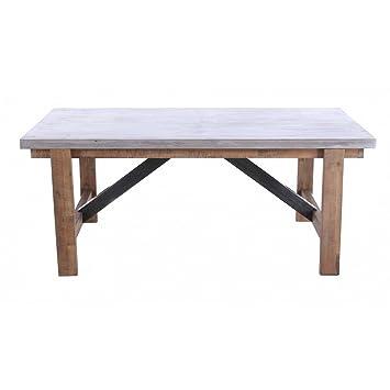 Table repas acacia et béton L180 x P90 cm Hermitage-Table repas acacia et béton L180 x P90 cm Hermitage
