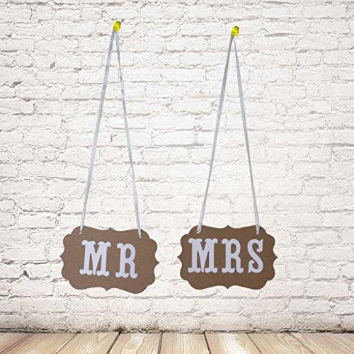 Chair Bunting Banner Garland Wedding Photo Props Decoration Khaki MR & MRS