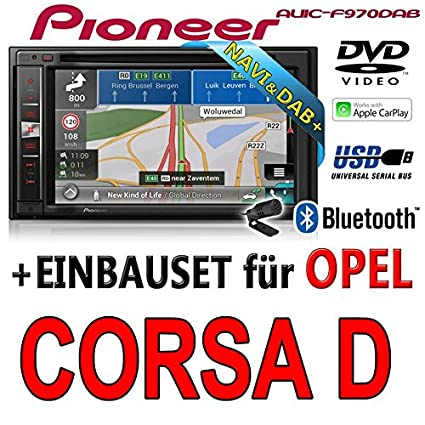 Opel corsa d, noir-pioneer aVIC-f970DAB-multimedia 2DIN navigation dAB autoradio avec antenne de montage