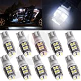 CCIYU 10 Piece T10 W5W 194 168 6SMD LED Car License Plate Light Auto Side Wedge Bulbs White Fit 2015 Chevrolet Camaro Caprice Captiva Sport City Express Colorado Express 3500 Impala etc