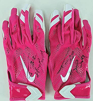 Autographed/Signed Cardinals Tyrann Mathieu Honeybadger Signed Game Used Nike Pink Gloves - PSA/DNA Authentication - Signed NFL Football Gifts