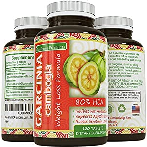 Pure 80% HCA Garcinia Cambogia Extract, #1 Premium Formula for Weight Loss & Appetite Suppression - Highest Grade, Best Premium Quality - Calcium Free - Guaranted By California Products