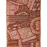 Rajrang Home Décor Beads Sequins Patch Work Brown Wall Hanging