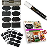 Chalkboard Labels Stickers Complete Bundle with Liquid Chalk Marker - Set of 40 with 8 stylish designs - Large stickers for pint mason JARS, cookie, canning, biscotti or jelly jar, spray or shaker BOTTLE, wine GLASSES, canisters, folders, office supplies, toy beans - Get more FREE TIME by organizing your cupboard, pantry storage, containers, birthdays and kids bedrooms - Endlessly REUSABLE and easy ERASABLE wedding decals