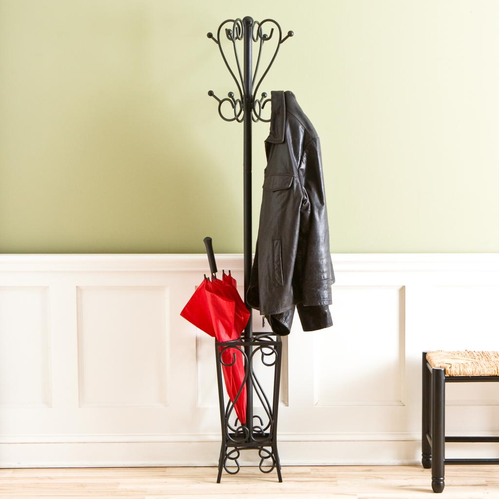 Sei black scrolled metal coat rack and - Percheros de pie ...