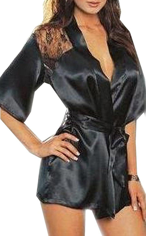Фото Blidece Sexy Women Lingerie Silk Lace Gown Bath Robe Babydoll Night Sleepwear Set