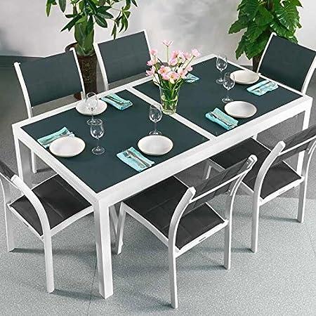 Florence Tisch & 6 Stuhle - WEIß & GRAU | Gartenmöbel-Set mit ausziehbarem 240cm Tisch