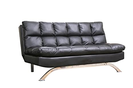 Abbyson Living Reedley Leather Lounger Sofa, Euro, Black