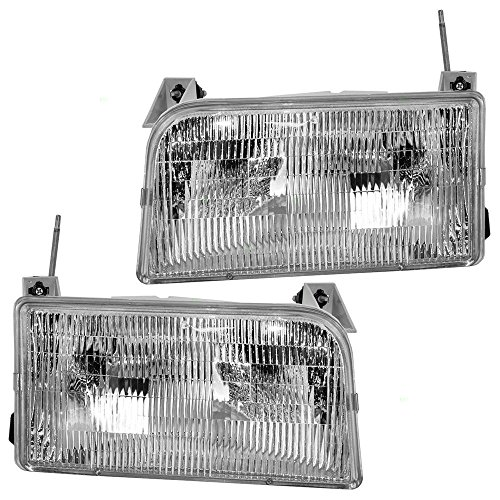 Driver and Passenger Headlights Headlamps Replacement for Ford Pickup Truck SUV F2TZ13008B F2TZ13008A (Headlight Assembly Bronco compare prices)