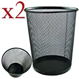 2 x Lightweight and Sturdy Circular Mesh Waste Bin (Black)...