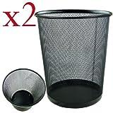 2 x Lightweight and Sturdy Circular Mesh Waste Bin by
