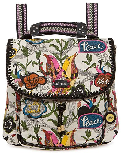 Sakroots Artist Circle Convertible Fashion Backpack, White Peace, One Size