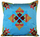 Floral Embroidered Pillow Cover, Set of 2 (Ocean Blue)