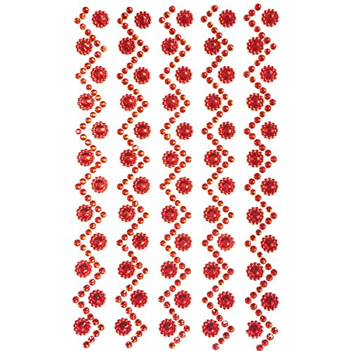 Wrapables Sunflower and Round Acrylic Self Adhesive Crystal Gem Stickers, Red (Round Gem Stickers compare prices)