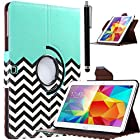 Tab 4 10.1 case, ULAK Fashion Chevron Pattern 360 Rotating PU Leather case for Samsung Galaxy Tab 4 10.1 inch Tablet SM-T530 T531 T535 Flip Smart Cover w/ Screen Protector Stylus (Follow the Sky)