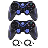 Kepisa Wireless Bluetooth Controller For PS3 Double Shock - Bundled with USB charge cord (BlackBlue and BlackBlue)