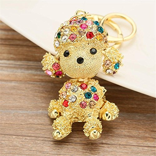 Mix-colored Dog Sparkling Poodle Blingbling Diamond Crystal Rhinestone Alloy Metal Keychain Animal Puppy Lover Kawaii Keyring Key Chain Pendant Purse Handbag Bag Car Hanging Charm Decoration Gift (Crystal Dog Keychain compare prices)