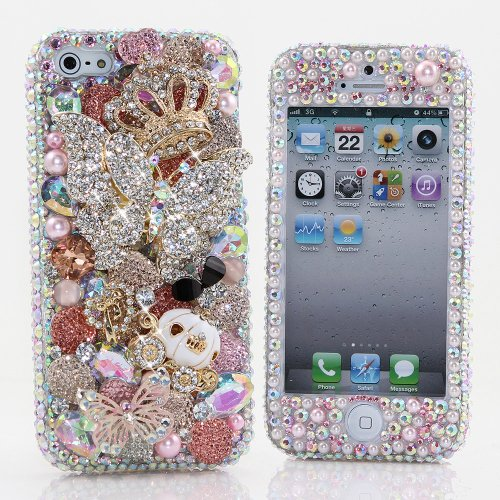 Best Price BlingAngels® 3D Luxury Bling iphone 5 5s Case Cover Faceplate Swarovski Crystals Diamond Sparkle bedazzled jeweled Design Front & Back Snap-on Hard Case (100% Handcrafted by BlingAngels) (Large Diamond Butterfly with Carriage Design)