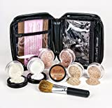 XXL KIT with BRUSH & CASE Full Size Mineral Makeup Set Bare Skin Powder Foundation Cover (Warm (most neutral))