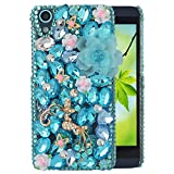 Spritech(TM) Bling Clear Phone For HTC Desire 626,3D Handmade Blue Crystal Buttefly White Small Flower Accessary Design Cellphone Cover