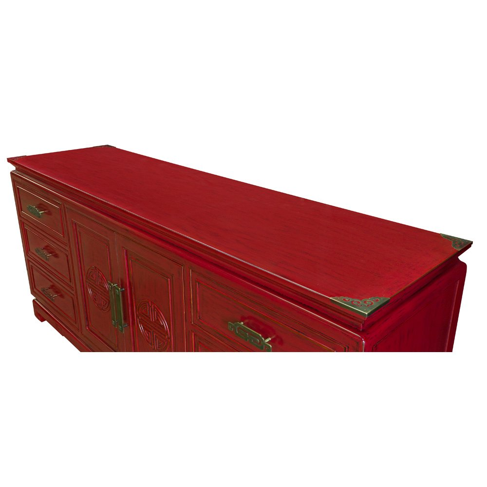 China Furniture Online Elmwood Sideboard, Zen Longevity Design Cabinet Distressed Red Finish 2